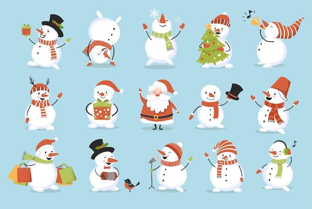 Nette weihnachtsschneemänner eingestellt. lustige verspielte charaktere. perfekt für neujahrs- und winterurlaubskarten, poster und banner.