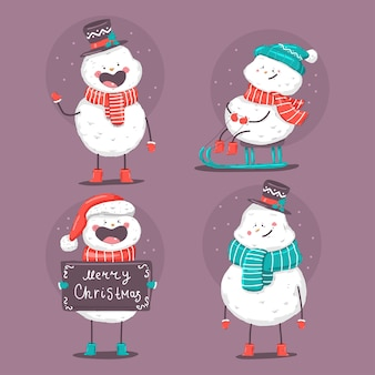 Nette weihnachtsschneemanncharaktere, die auf einem weißen hintergrund lokalisiert werden.