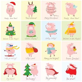 Nette weihnachtsschweinchensammlungsvektorillustration von lustigen karikaturschweinen in verschiedenen kostümen ...