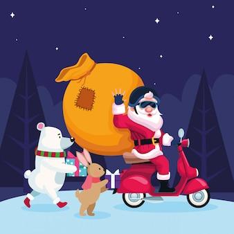 Nette weihnachtstiere und weihnachtsmann in einem motorrad mit großer tasche über nacht