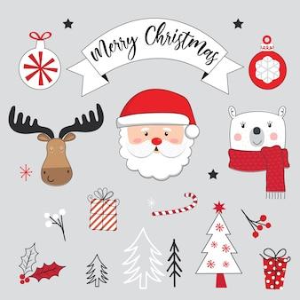 Nette weihnachtsverzierungen und niedlicher weihnachtscharakter