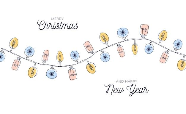 Nette weinlese-weihnachtskarte mit handgezeichnetem glühbirnengirlandenhintergrund.