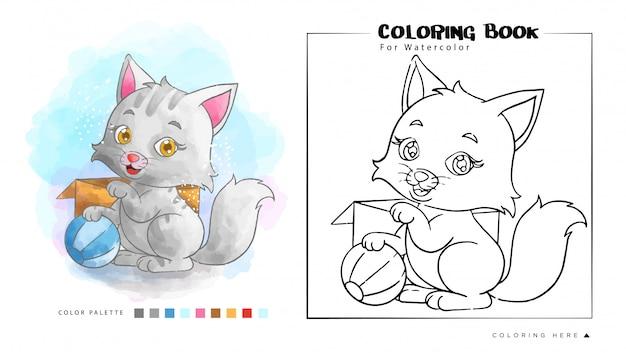 Nette weiße katze, die ball-aquarell-illustration spielt