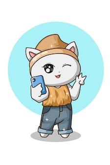 Nette weiße katze, die selfie tut