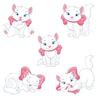Nette weiße katze mit rosa bogenillustration lokalisiert