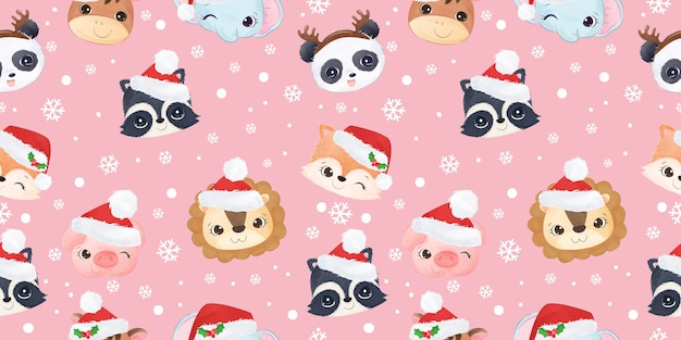 Nette wilde tiere, die weihnachtsmuster feiern