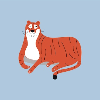 Nette wilde Tigerkarikaturillustration