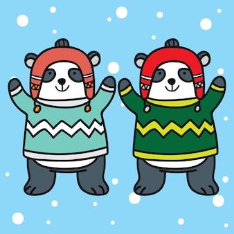 Nette wintertierpaar-karikaturillustration