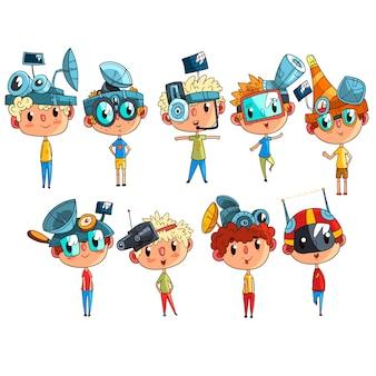 Nette wissenschaftlerkinder, die an physikwissenschaftsexperimentsatz, lustiger junge im fantastischen kopfschmuck mit antennen illustrationen arbeiten