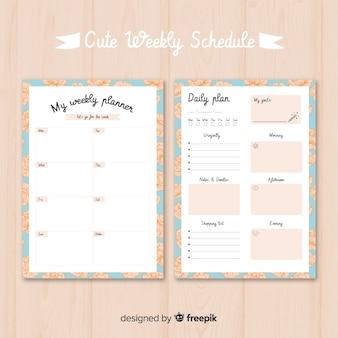 Nette wöchentliche planerschablone mit buntem design