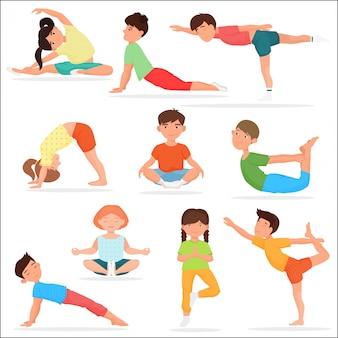 Nette yogakinder eingestellt