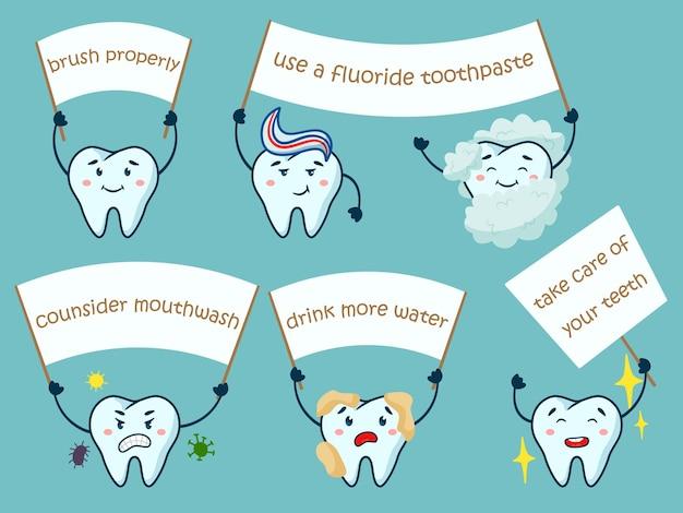 Nette zähne mit motivations-mundhygiene-zahnmedizinplakat. bürsten sie das eigentum, verwenden sie fluoridhaltige zahnpasta, ziehen sie mundwasser in betracht, trinken sie mehr wasser, kümmern sie sich um die inspiration der zähne vektor-illustration isoliertes set