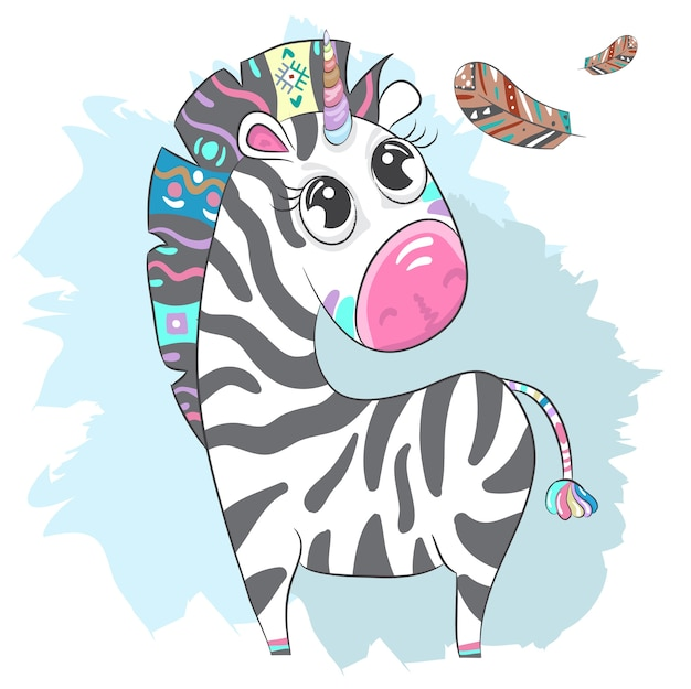 Nette zebra-boho karikaturhand gezeichnet