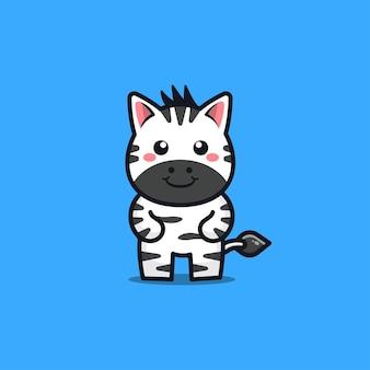 Nette zebracharakter-karikaturillustration