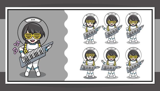 Nette zeichentrickfigur des astronautenmädchens, das klaviergitarre mit schritt für schritt animation spielt