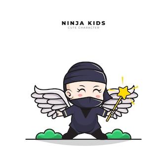 Nette zeichentrickfigur des baby-ninja-engels, der einen feenhaften zauberstab hält