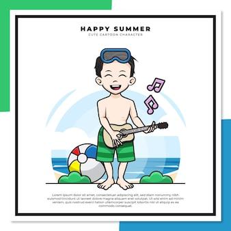 Nette zeichentrickfigur des jungen spielt gitarrenukulele am strand mit glücklichen sommergrüßen