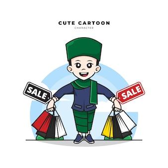 Nette zeichentrickfigur des muslimischen jungen hält einkaufstaschenverkauf