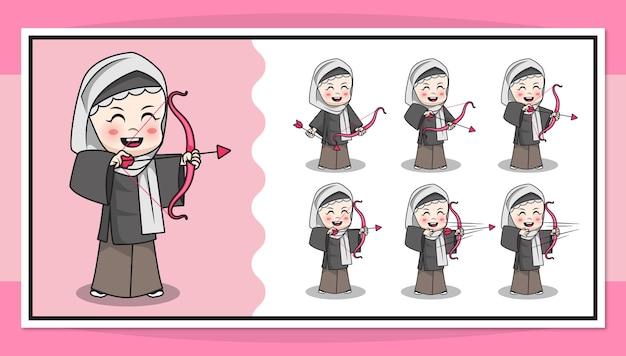Nette zeichentrickfigur des muslimischen mädchens, das bogenschießen mit schritt für schritt animation tut