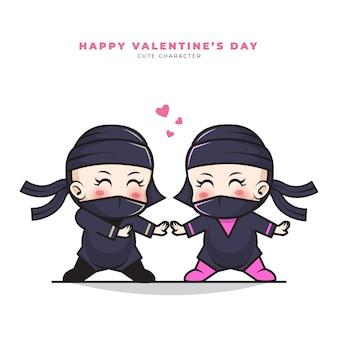Nette zeichentrickfigur des paares baby ninja und glückliche valentinstaggrüße