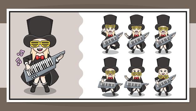 Nette zeichentrickfigur des rockstar-mädchens, das klaviergitarre mit schritt-für-schritt-animation spielt