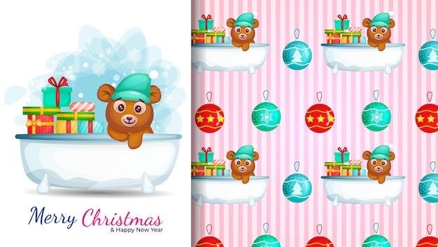 Nette zeichentrickfigur im badezimmer. illustration und nahtloses muster für weihnachtstag.