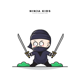 Nette zeichentrickfigur von baby ninja hält zwei schwerter