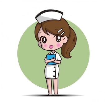 Nette zeichentrickfilm-krankenschwester.