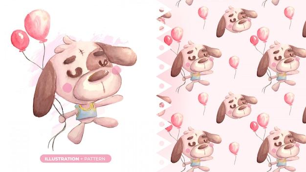Nette zeichnung des teddybärhundes mit musterfahne