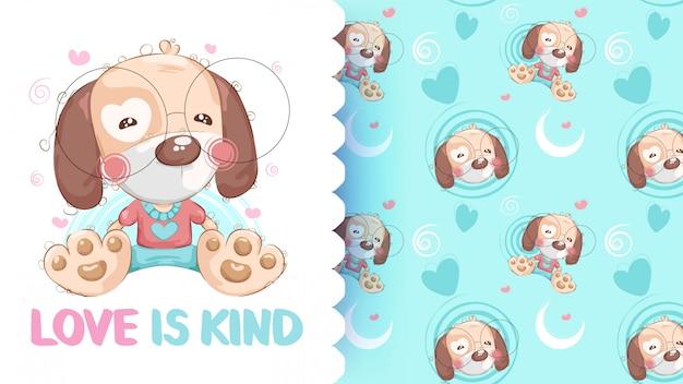 Nette zeichnung des teddybärhundes mit musterhintergrund