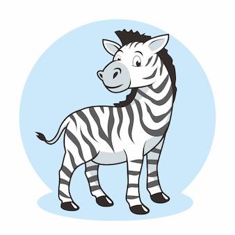 Nette zeichnung illustration des zebrakarikatur