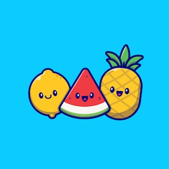 Nette zitrone, wassermelone und ananas-karikatur-vektor-illustration. sommer tropischer frucht-konzept-isolierter vektor. flacher cartoon-stil