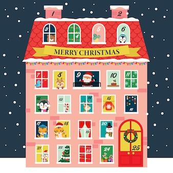 Netter adventskalender im weihnachtshausstil
