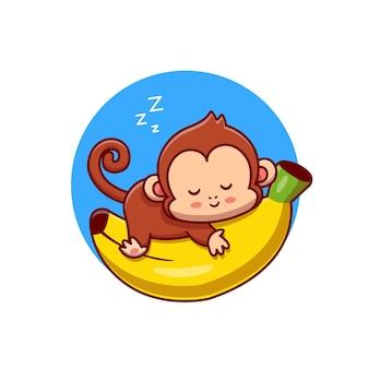 Netter affe, der auf bananen-karikatur-vektor-icon-illustration schläft. tier natur symbol konzept isoliert premium-vektor. flacher cartoon-stil