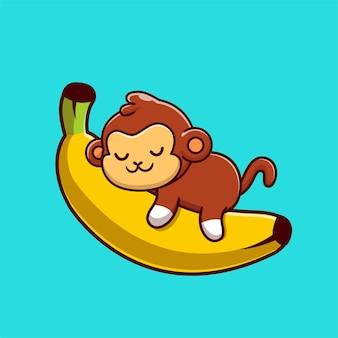 Netter affe, der auf der bananenkarikatur-vektor-icon-illustration schläft. tier natur symbol konzept isoliert premium-vektor. flacher cartoon-stil