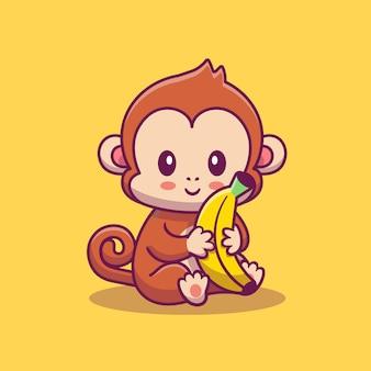 Netter affe, der bananen-symbol-illustration hält. tierikon-konzept isoliert. flacher cartoon-stil