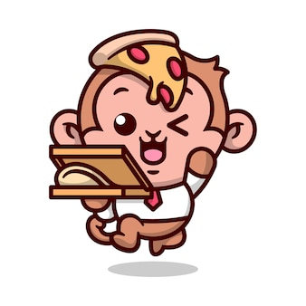 Netter affe, der eine box pizza und eine scheibe pizza auf seinem kopf bringt hochwertiges cartoon-maskottchen-design
