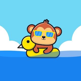 Netter affe, der mit schwimmringkarikaturillustration schwimmt