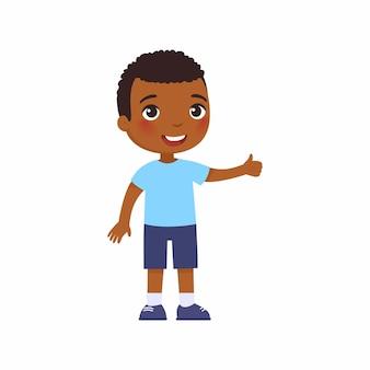 Netter afrikanischer junge, der daumen hoch geste zeigt glückliches kleines kind lächelndes dunkles hautkleinkind
