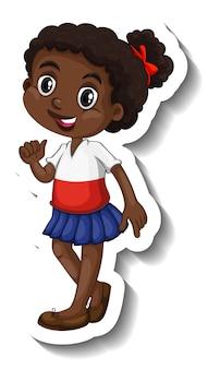 Netter afrikanischer mädchen-cartoon-charakter-aufkleber