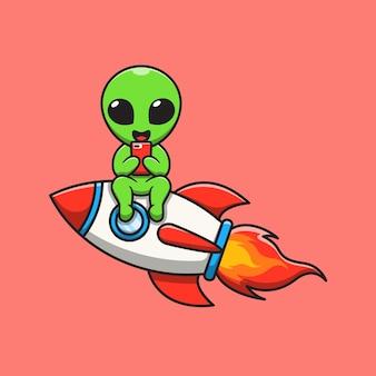 Netter alien, der auf einer rakete sitzt, die die telefonkarikaturillustration spielt