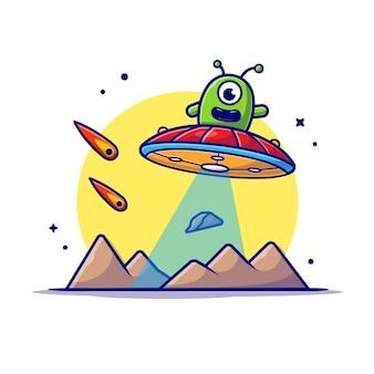 Netter alien, der auf planet mit ufo- und meteoritenraum-karikatur-symbolillustration fliegt