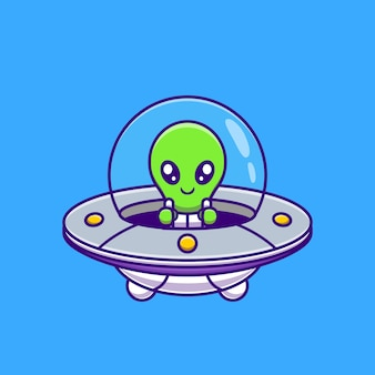 Netter alien, der mit raumschiff-ufo-karikatur fliegt. wissenschafts-technologie-symbol-konzept isoliert. flacher cartoon-stil