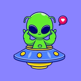 Netter alien, der ufo mit liebeszeichen-karikatur-vektor-icon-illustration reitet. wissenschaft technologie symbol konzept isoliert premium-vektor. flacher cartoon-stil
