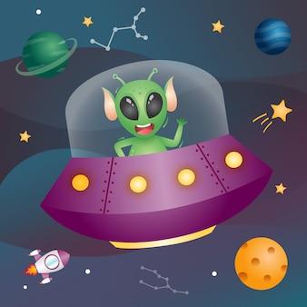Netter alien in der weltraumgalaxie. vektorillustration