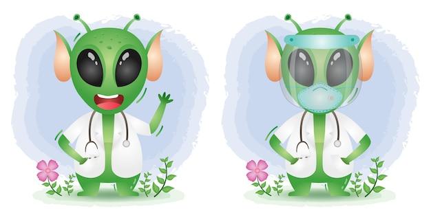 Netter alien mit kostümarzt unter verwendung von gesichtsschutz und maske