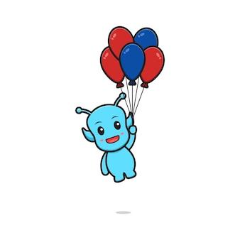 Netter alienfliegen mit ballonkarikaturvektorikonenillustration. design lokalisiert. flacher cartoon-stil.