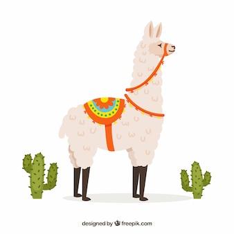 Netter alpakahintergrund mit kaktus