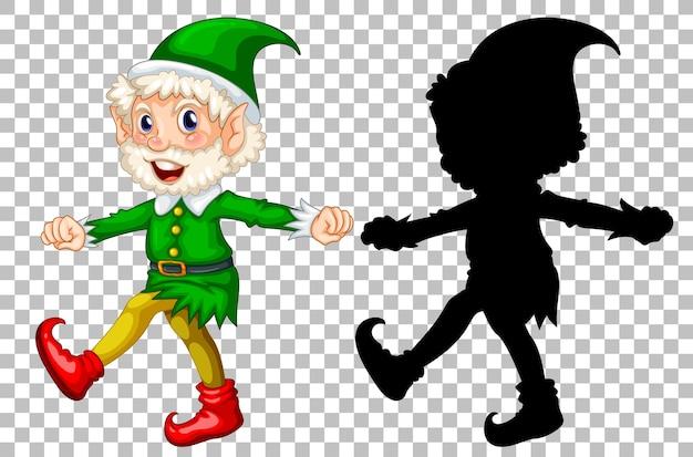 Netter alter elf und seine silhouette