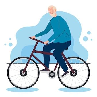 Netter alter mann im fahrrad, freizeitaktivitätsillustration
